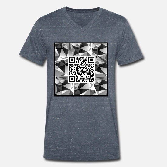 Qr T-Shirts - QR code with design - Men's Organic V-Neck T-Shirt heather navy