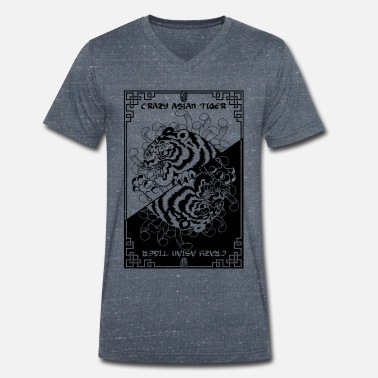 Asian Crazy asian tiger - Men's Organic V-Neck T-Shirt