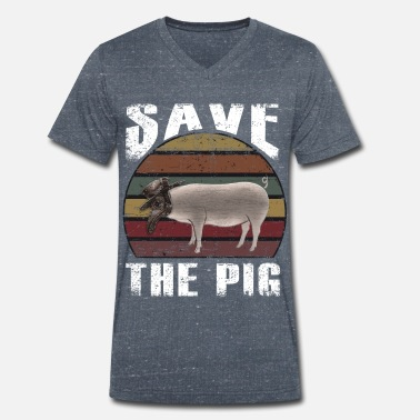Regalo retro Save the Pigs - Camiseta con cuello de pico hombre