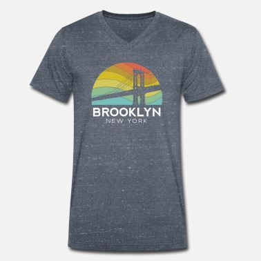 I Love Ny Brooklyn Bridge New York Retro Vintage Urban - Männer Bio T-Shirt mit V-Ausschnitt