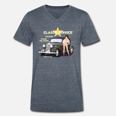 Pinup Cars and Pinup, Classic Service - Mannen V-hals bio T-shirt