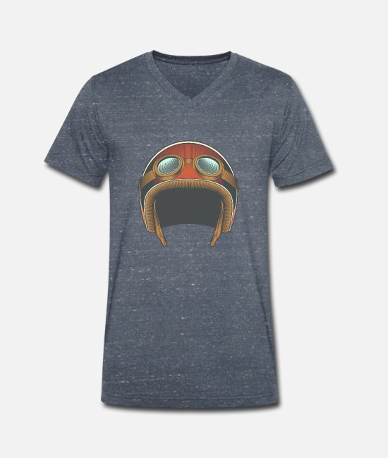 Hipster T-Shirts - Vintage motorcycle - motorcycle helmet - Men's Organic V-Neck T-Shirt heather navy