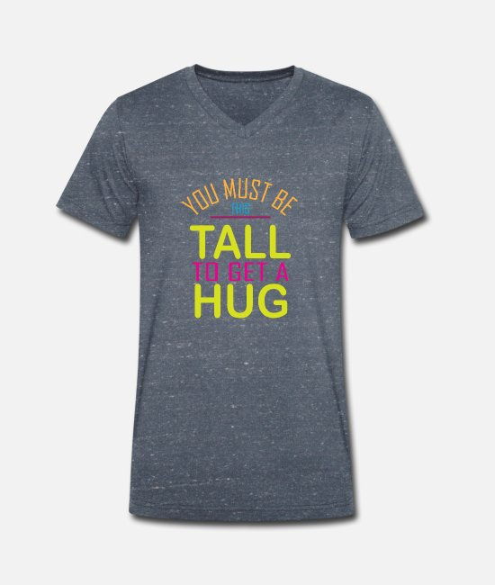 Hug Me T-Shirts - Minimum size for a hug - Men's Organic V-Neck T-Shirt heather navy