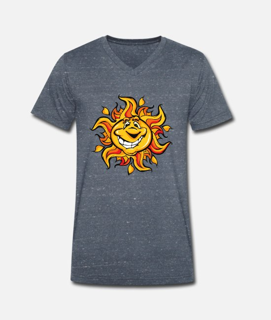 Caricature T-Shirts - Sun - Men's Organic V-Neck T-Shirt heather navy