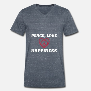 Happiness peace love happy heart peace - Men's Organic V-Neck T-Shirt