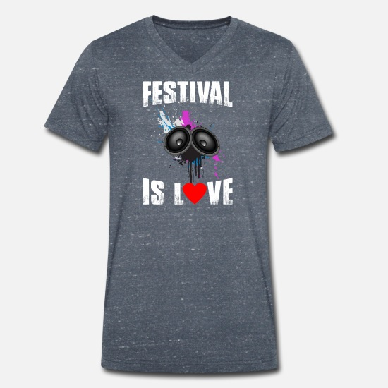 Love T-Shirts - Festival Shirt · Festival is LOVE · Gift - Men's Organic V-Neck T-Shirt heather navy