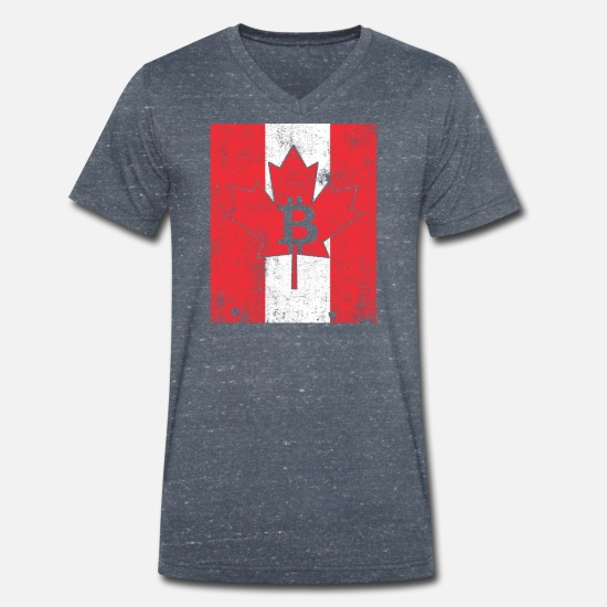 Old T-Shirts - BitCanada - Men's Organic V-Neck T-Shirt heather navy