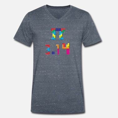 Pi Day Pi Block Puzzle Video Game Matematik Pi Day Mathematics - Ekologisk T-shirt med V-ringning herr från Stanley & Stella