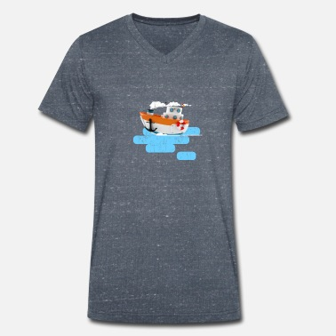 Tug boat 3d illustration distressed effect - Men's Organic V-Neck T-Shirt