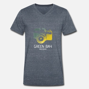 Green Bay Packers Green Bay camera with heart - Men's Organic V-Neck T-Shirt