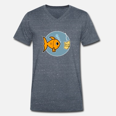 Funny Angler T-Shirt, Free Lip Piercing - Men's Organic V-Neck T-Shirt