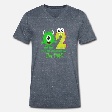 Birthday Funny FUNNY 2ND BIRTHDAY MONSTER DESIGN - Men's Organic V-Neck T-Shirt