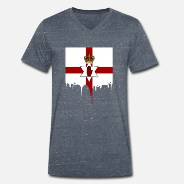 Northern Ireland Symbols Northern Ireland flag drops land gift - Men's Organic V-Neck T-Shirt