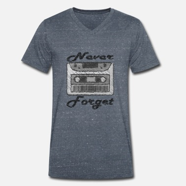 Tape Never Forget - Cassette Tape - Muziek - Retro - Mannen V-hals bio T-shirt