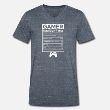 Nutrition Funny Gamer Nutrition Facts Shirt - Men's Organic V-Neck T-Shirt by Stanley & Stella