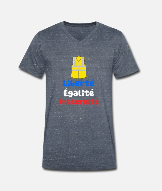 Protests T-Shirts - Yellow-West protests in France - Men's Organic V-Neck T-Shirt heather navy