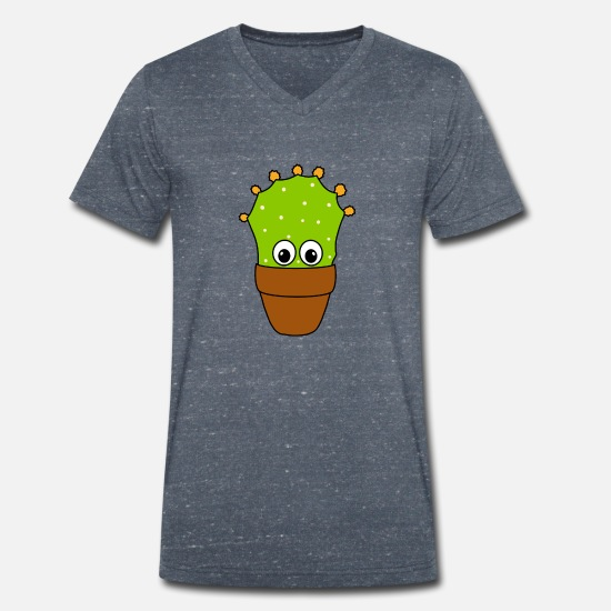Pretty T-Shirts - Prickly Pear Cactus With Cute Buds - Men's Organic V-Neck T-Shirt heather navy
