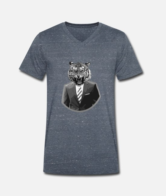 Animal T-Shirts - Tiger in a suit - Men's Organic V-Neck T-Shirt heather navy