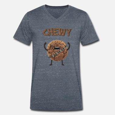 Monster Funny Nerd Humor - Chewy Chocolate Cookie Wookiee - Men's Organic V-Neck T-Shirt