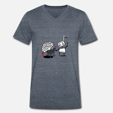 Blitzgescheit Robot with shopping cart and brain - Men's Organic V-Neck T-Shirt