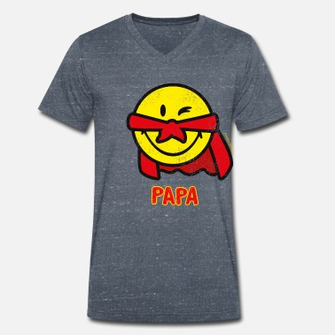 SmileyWorld Papa Superhero - T-skjorte med V-hals for menn