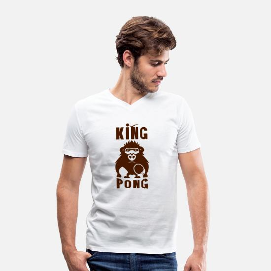 Pong T-Shirts - Gorilla king pong racket ping - Men's Organic V-Neck T-Shirt white