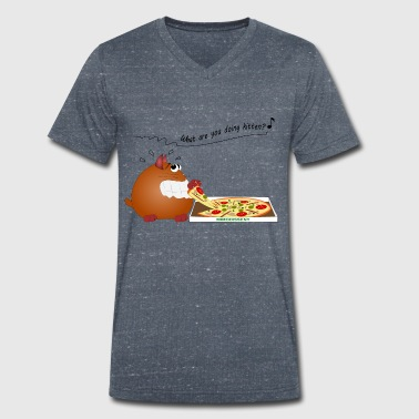 Cat-pizza - Men's Organic V-Neck T-Shirt by Stanley & Stella
