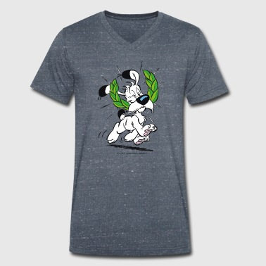 Asterix & Obelix Dogmatix Laurel Wreath - Men's Organic V-Neck T-Shirt by Stanley & Stella