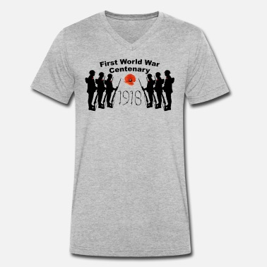Ww1 First World War Centenary 1918 - Men's Organic V-Neck T-Shirt by Stanley & Stella
