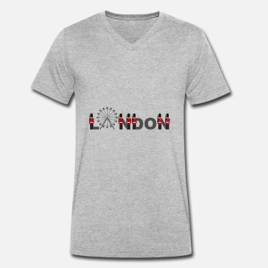 Palace Guard London lettering with palace guards from Buckingham - Men's Organic V-Neck T-Shirt by Stanley & Stella