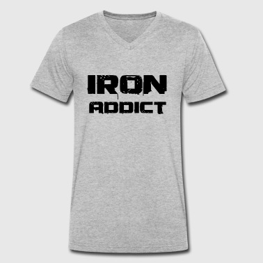 Iron Addicts Iron addict black - Men's Organic V-Neck T-Shirt by Stanley & Stella