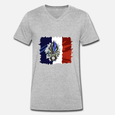 Foreign Foreign Legion - Flag France coat of arms étrangère - Men's Organic V-Neck T-Shirt by Stanley & Stella