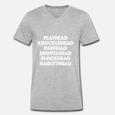 The Blockheads Flathead panhead knucklehead all Harleyheads - Men's Organic V-Neck T-Shirt by Stanley & Stella
