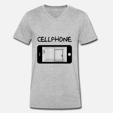 Mobile Cell Phone Mobile Cell & Prison - Men's Organic V-Neck T-Shirt by Stanley & Stella