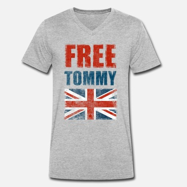 Tommy Gratuit Tommy Robinson Free Speech UK - T-shirt bio col V Stanley & Stella Homme