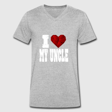 Rubin i love my uncle spruch heart love love - Men's Organic V-Neck T-Shirt by Stanley & Stella