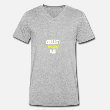 Rugby Dad Distressed - COOLEST RUGBY DAD - Men's Organic V-Neck T-Shirt by Stanley & Stella