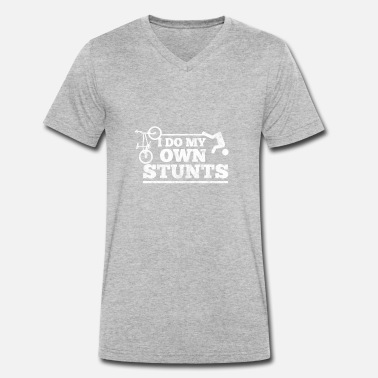 Own Stunts Cyclists do their own stunts - Men's Organic V-Neck T-Shirt by Stanley & Stella