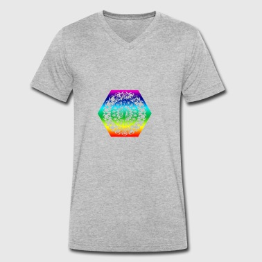 Yoga India Yoga Colorful Peace India - T-shirt ecologica da uomo con scollo a V di Stanley & Stella