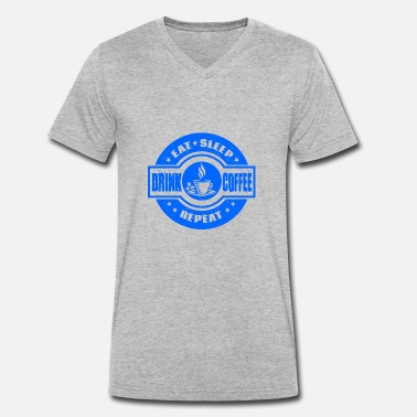 Restaurant Christmas Birthday Eat Sleep Repeat Coffee Blue - Gift - Men's Organic V-Neck T-Shirt by Stanley & Stella