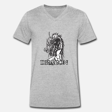 Agri agry looking dragon white - Men's Organic V-Neck T-Shirt by Stanley & Stella