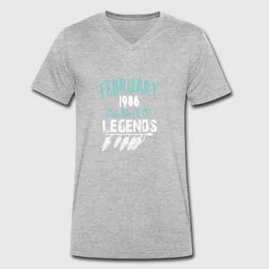 1986 Birth February 1986 The Birth Of Legends - Men's Organic V-Neck T-Shirt by Stanley & Stella