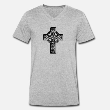 Celtic Knotwork Celtic cross - Men's Organic V-Neck T-Shirt by Stanley & Stella
