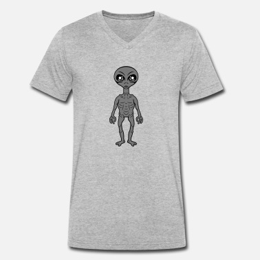 Grey Small grey grey alien - Men's Organic V-Neck T-Shirt