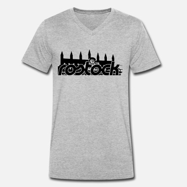 Town Hall Rostock, Rostock Town Hall (black) - Men's Organic V-Neck T-Shirt by Stanley & Stella