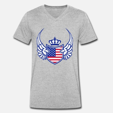 Red White And Blue crown wing shield coat of arms america united stat - Men's Organic V-Neck T-Shirt