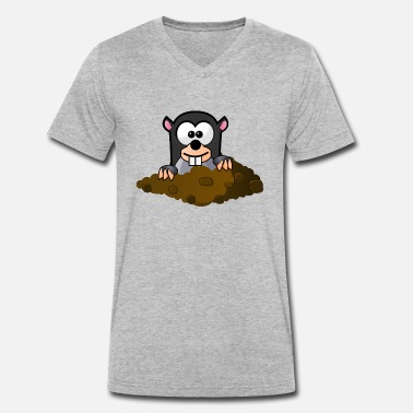 Look Out Mole looks out of the hole - Men's Organic V-Neck T-Shirt