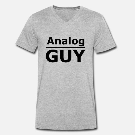 Analog T-Shirts - Analog Guy - Analog guy - analog but happy - Men's Organic V-Neck T-Shirt heather grey