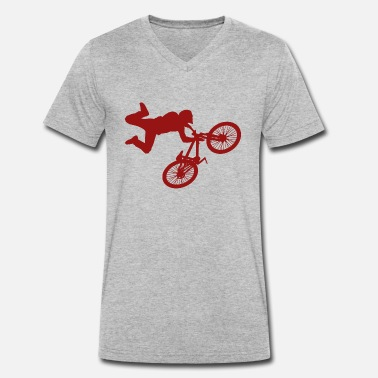 Bmx Jump BMX Jump Red - Men's Organic V-Neck T-Shirt by Stanley & Stella