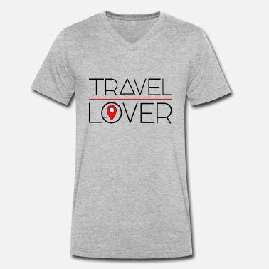 Travel Lover 2 Black verse 2 - Mannen V-hals bio T-shirt